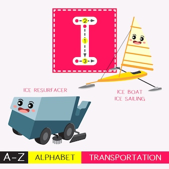 Letter i uppercase tracing transportations vocabulary
