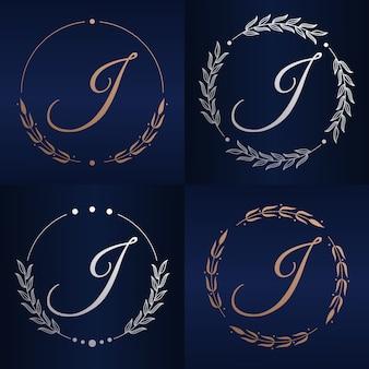 花のフレームのロゴのテンプレートと文字i