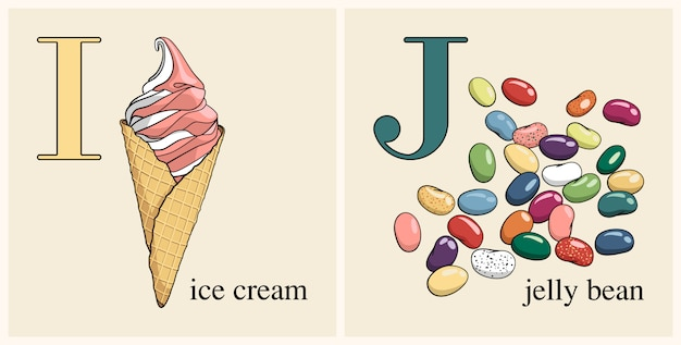 Letter i with ice cream