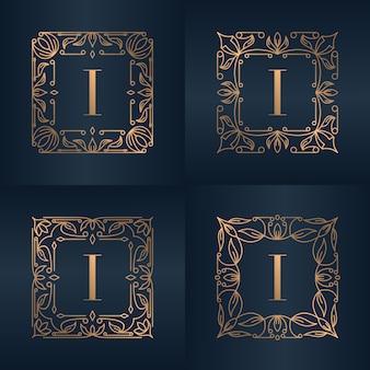 Буква i с роскошным орнаментом цветочная рамка
