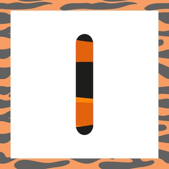 Letter i with tiger pattern festive font and frame from orange with black stripes alphabet symbol fo...