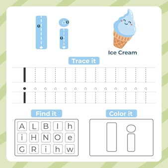 Letter i worksheet with ice cream