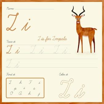 Foglio di lavoro lettera i con impala
