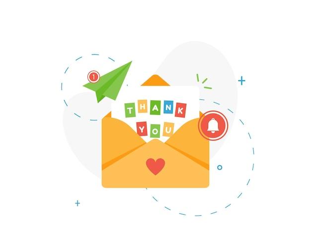 Письмо в конверте с благодарностью