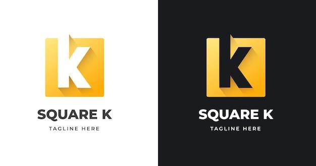 正方形のデザインイラストと文字のイニシャルkロゴデザインテンプレート