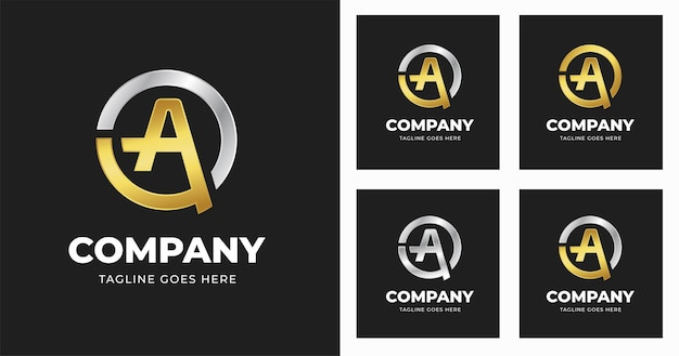 Letter initial a logo design template with circle shape style