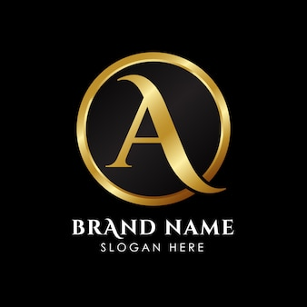 Letter a initial logo template in gold color
