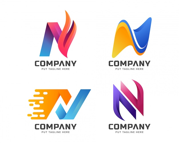 Letter initial n logo template for company
