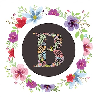 Letter a initial with floral vector