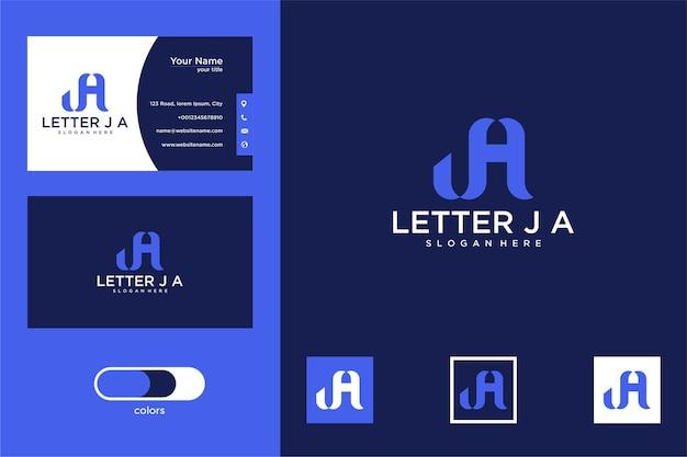 편지 ja 로고 디자인 및 명함