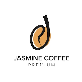 Буква j кофе логотип значок вектор шаблон