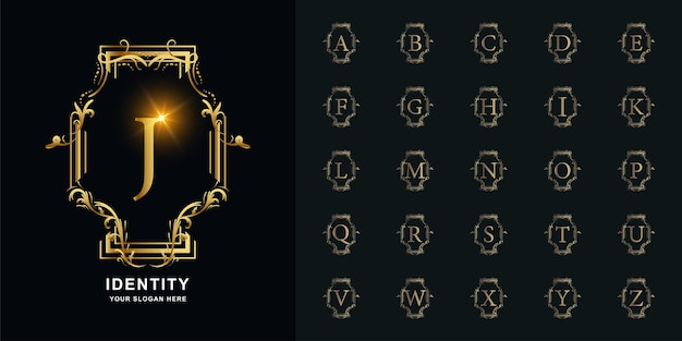 Letter j or collection initial alphabet with luxury ornament floral frame golden logo template.