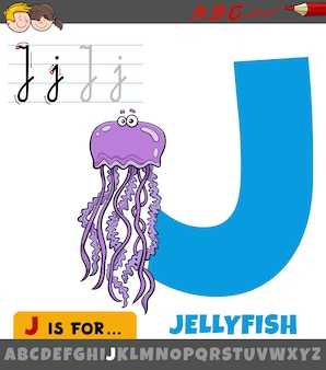 漫画のクラゲの動物のキャラクターとアルファベットからの文字j