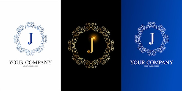Letter j initial alphabet with luxury ornament floral frame logo template.