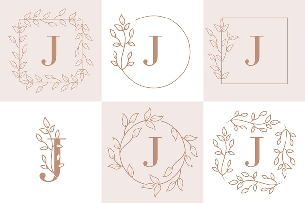 Letter j initial with floral frame template