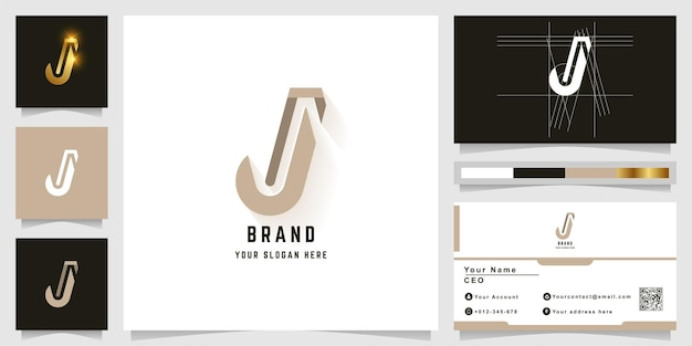 Letter j or ji monogram logo with business card design