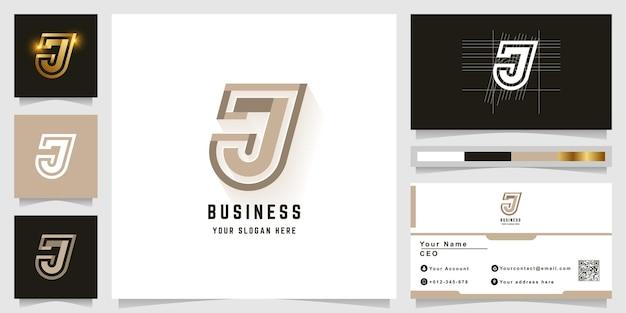 Letter j or jj monogram logo with business card design