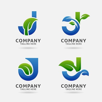 Letter j leaf logo design