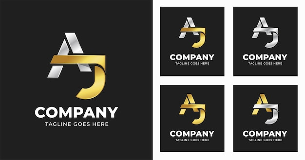 Letter a j logo design template