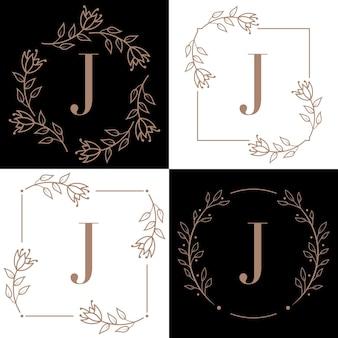 Letter j logo design with orchid leaf element