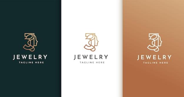 女性の顔と文字jのロゴデザイン