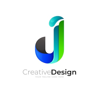 Letter j logo and simple design template, line style