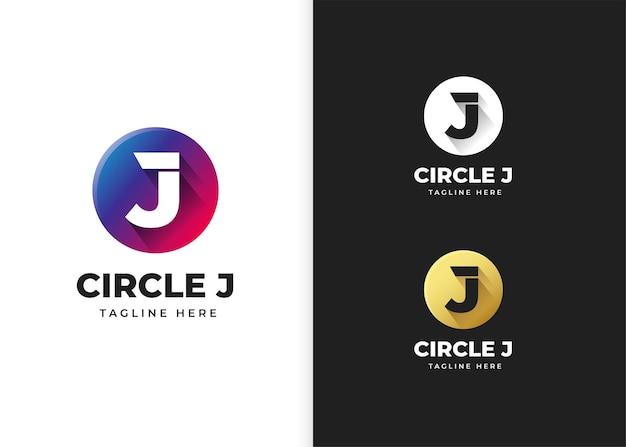 Буква j логотип векторные иллюстрации с дизайном в форме круга
