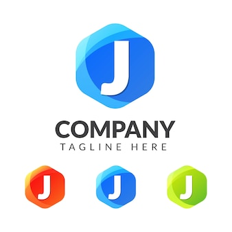 カラフルな背景の文字jロゴ、クリエイティブ産業、ウェブ、ビジネス、会社のための文字の組み合わせのロゴデザイン。