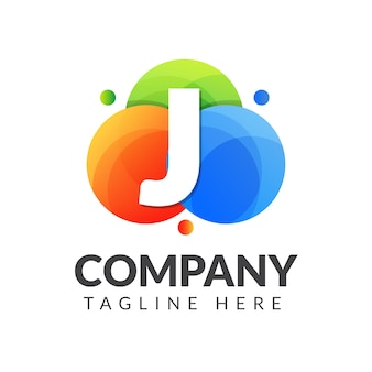 창조적 인 산업, 웹, 비즈니스 및 회사를위한 다채로운 원 배경의 문자 j 로고
