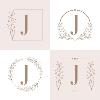 Letter j logo with floral frame background template