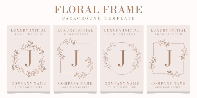 Letter j logo with floral frame template