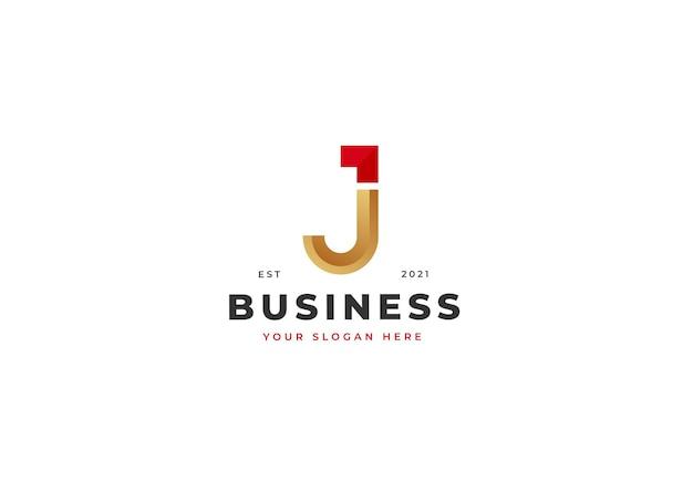 文字j高級ロゴデザインテンプレート。ベクトルイラスト
