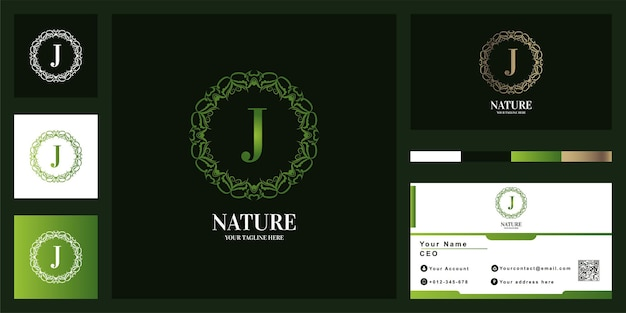 Letter j luxury ornament flower frame logo template design with business card.