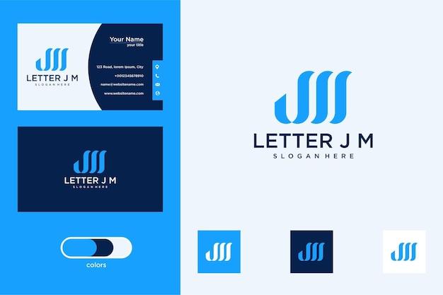 Письмо jm дизайн логотипа и визитная карточка
