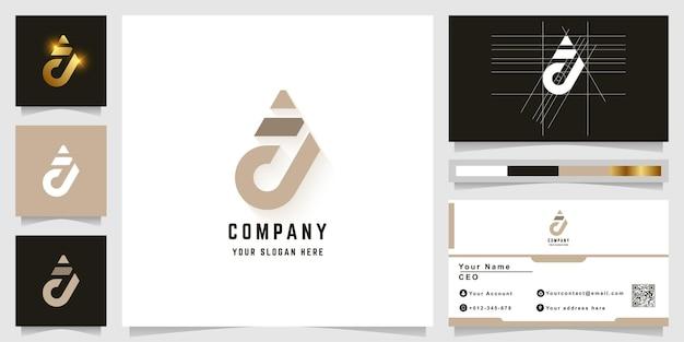 Letter a or j monogram logo with business card design