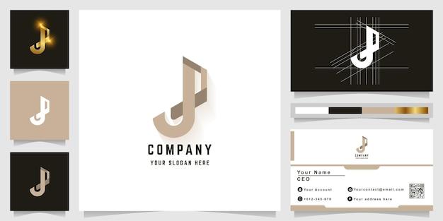 Letter j or p monogram logo with business card design