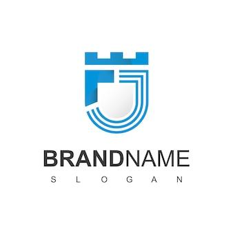 Буква j щит логотип дизайн шаблона