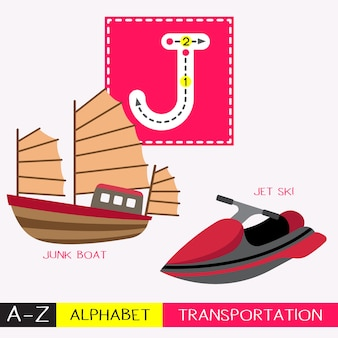 Letter j uppercase tracing transportations vocabulary