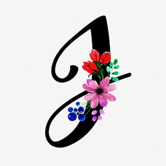 Letter j watercolor floral background
