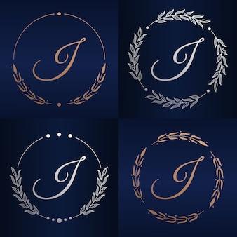 Letter j with floral frame logo template