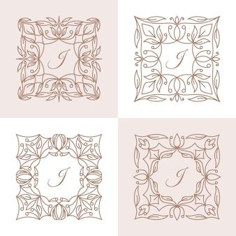 Буква j с шаблоном логотипа цветочной рамки