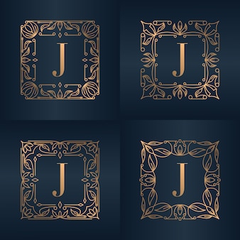 Letter j with luxury ornament floral frame