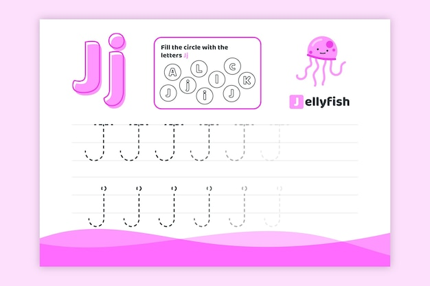 Letter j worksheet jellyfish