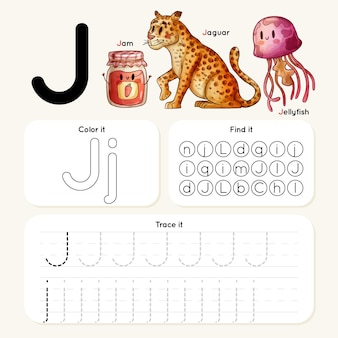 Letter j worksheet with animals and jam