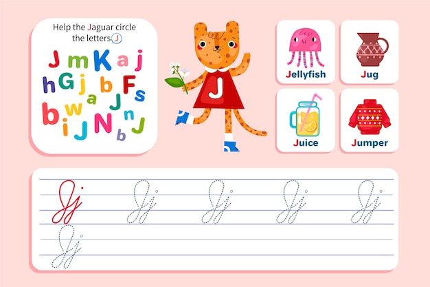 Letter j worksheet with jaguar