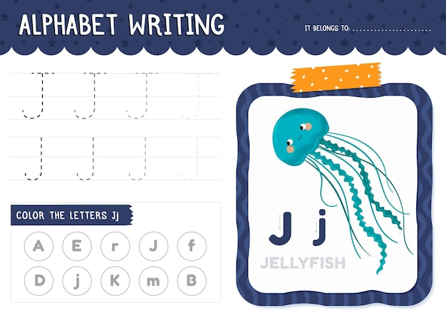 Letter j worksheet with jellyfish