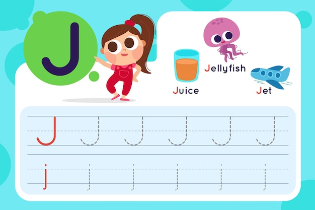 Letter j worksheet with juice and jellyfish