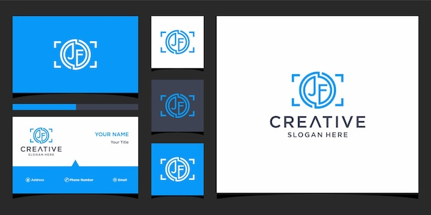 Letter jf logo for photography with business card template