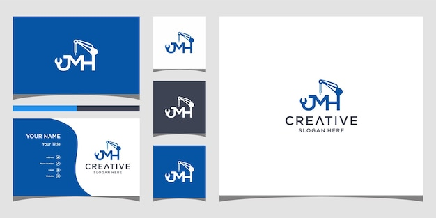 Letter jmh for construction logo design with business card template