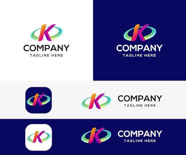 Letter k 3d colorful logo design